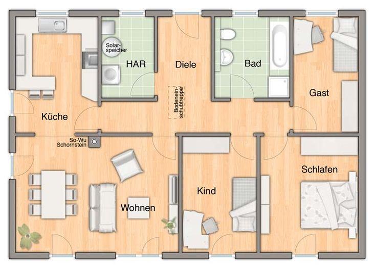 Grundriss bungalow 4 zimmer 120 qm  184 besten Grundriss Bilder auf Pinterest | Grundrisse ...