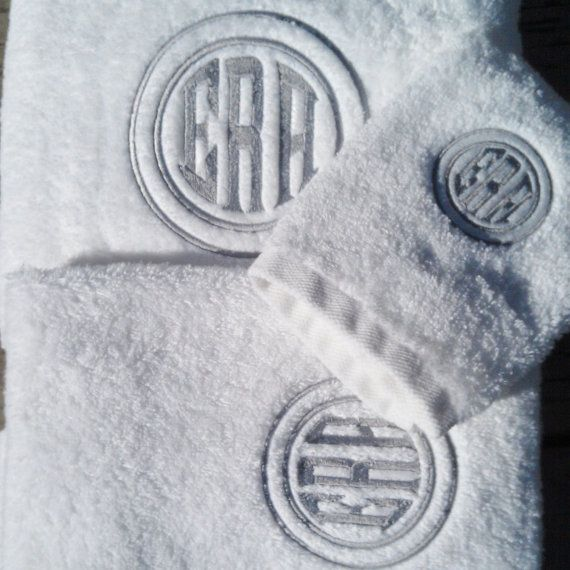Monogrammed Cotton Bamboo Towel  Set on Etsy, $48.00