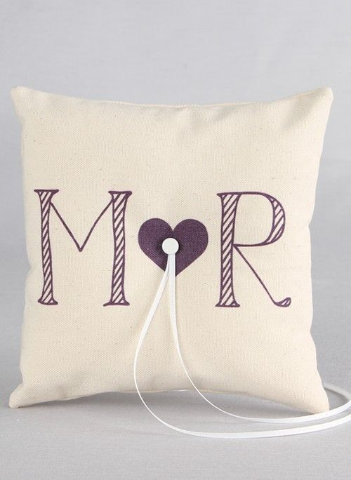 Heart Initials Canvas Ring Pillow