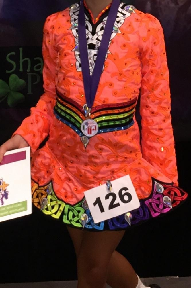 Glamorous Orange ID Costume Design Irish Dance Dress Solo Costume For Sale