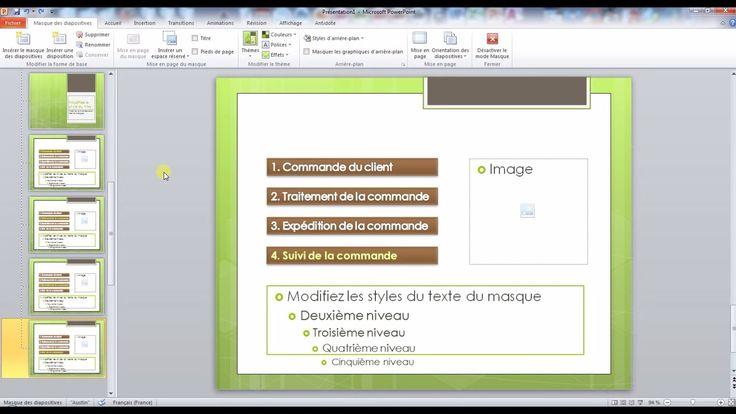 Tutoriel vidéo pour apprendre à créer un masque des diapositives et comment le modifier. Un masque des diapositives est une sorte de modèle de mise en page PowerPoint.  Pour lire ce tutoriel en version texte, rendez-vous sur Votre Assistante : http://www.votreassistante.net/pourquoi-utiliser-un-masque-des-diapositives-powerpoint-et-comment-le-creer