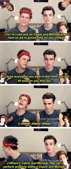 Joe and Caspar impersonating Ashton and Luke