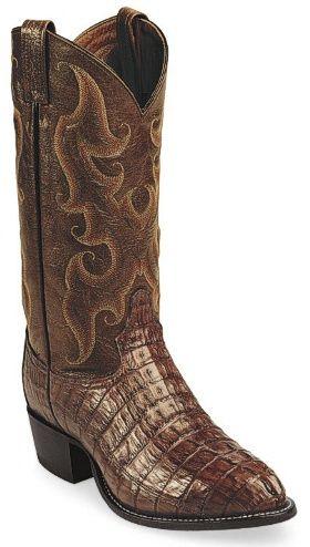 Tony Lama Mens Cowboy Boots Antique Brown Royal Hornback Caiman  BootCity.com