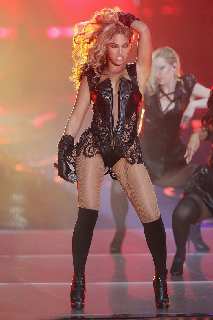 See Beyonce Rock her Signature Bodysuit on Stage - Laser Cut-Outs + Illusion Neckline  - from InStyle.com
