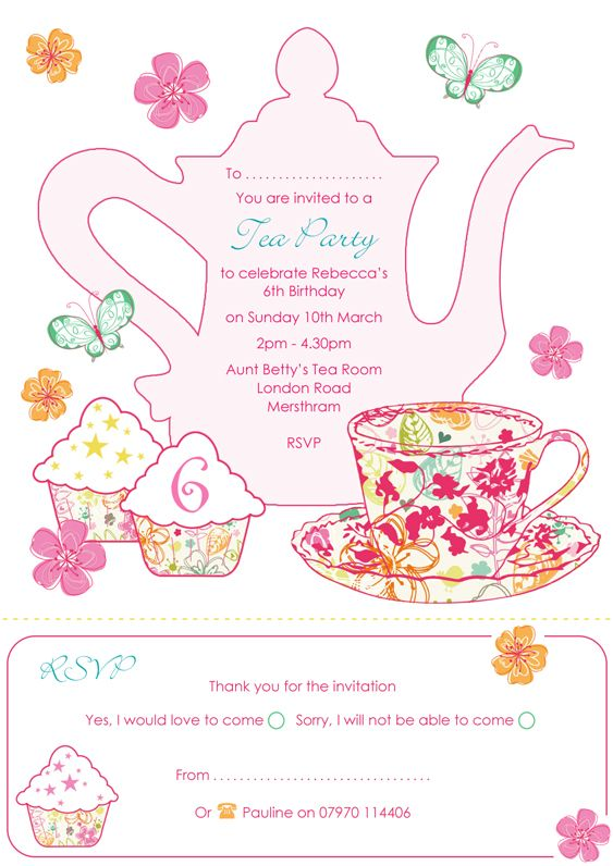 Delicate image pertaining to free printable tea party invitations