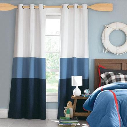 wholeHome CASUAL(TM/MC) ''Annie'' Triple-Band Foam-Back Grommet Panel Pair - Sears | Sears Canada in white/blue/navy for Connor's room $59.97