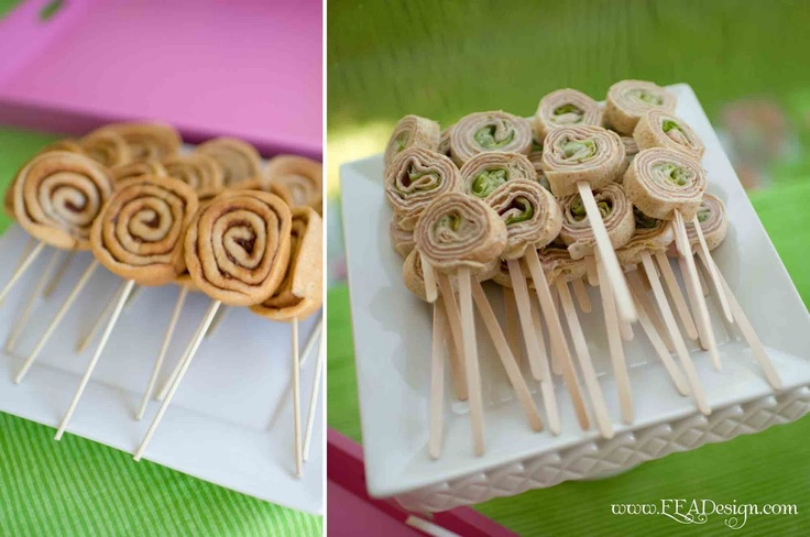 Lollipop Birthday: Party food idea-Goodies on sticks