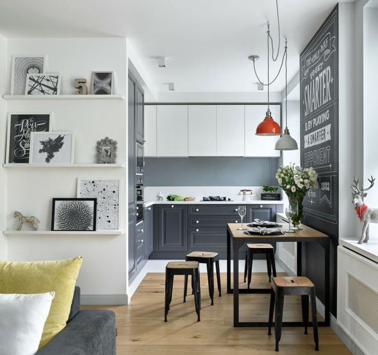 cocinas nórdicas con muebles de color gris