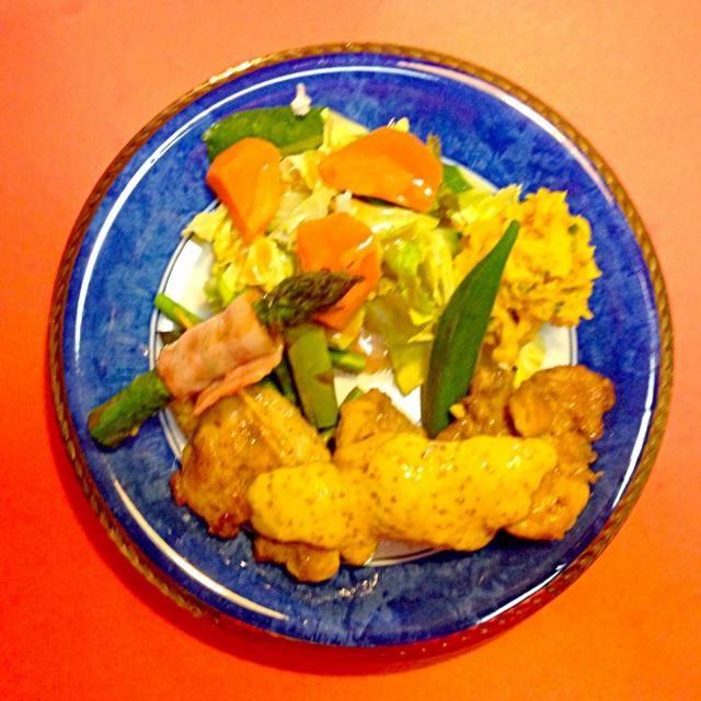はみちゃんのジョイフルキッチンランチ(*^_^*) チキンステーキハニーマスタード&アスパラベーコン巻き&カボチャサラダ&ビタミンカラー温野菜達(*^_^*) いい天気晴れ^_^気持ちが良い爽やかな風^_^ 美味しかった^_^ごちそう様^_^ - 78件のもぐもぐ - はみちゃんのジョイフルキッチンランチ(*^_^*)チキンステーキハニーマスタード&アスパラベーコン巻き&カボチャサラダ&ビタミンカラー温野菜達(*^_^*) by joyful1193
