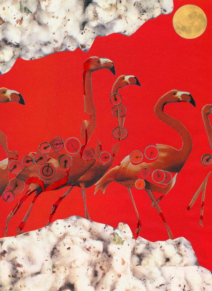 Flamingoes in Cluds Red Birds Foulmoon Moon Κολάζ Φλαμίνγκος στα σύννεφα Collage Art Stelios Serras Serart