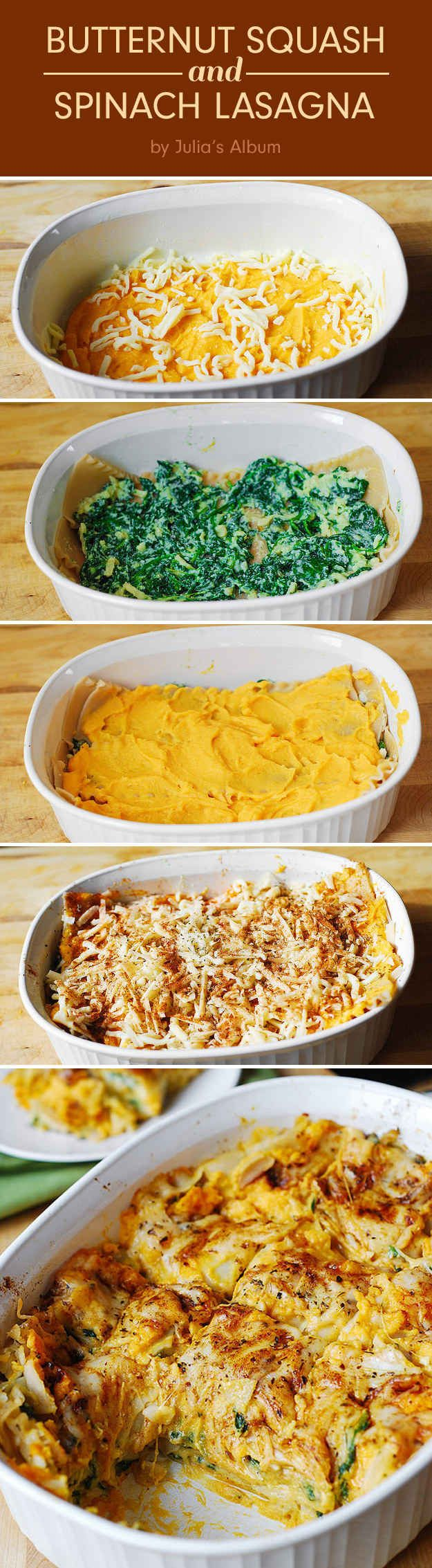Butternut Squash and Spinach Lasagna (you can easily use gluten free noodles!) Healthy, meatless, gluten free recipe.