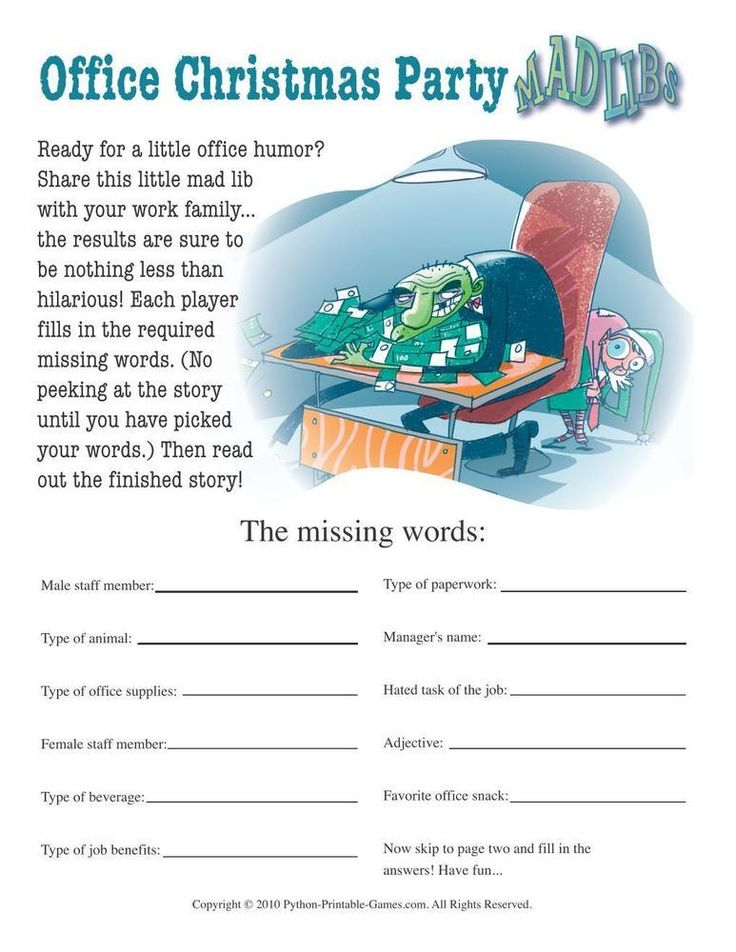 Games for the Office: Office Christmas Party Mad Libs, $6.95