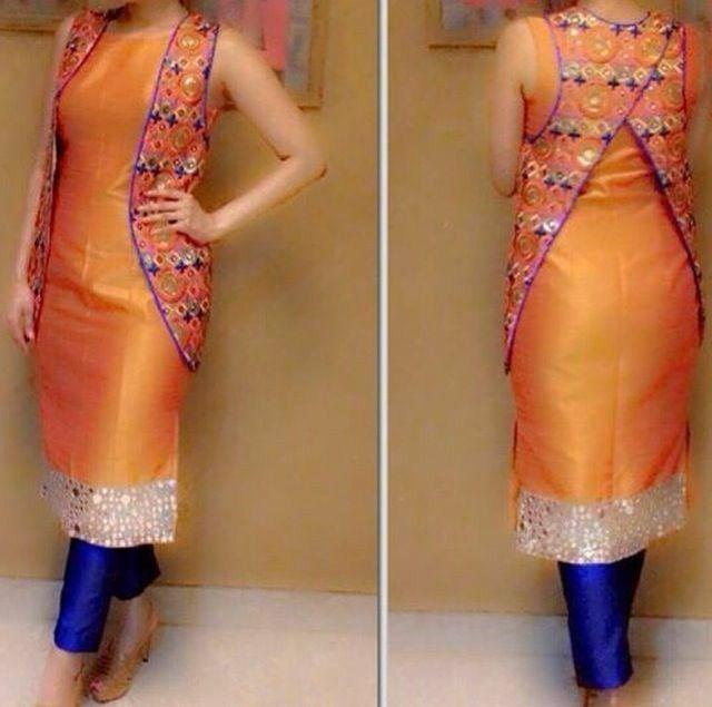 Orange n blue combination plazo suit with jacket