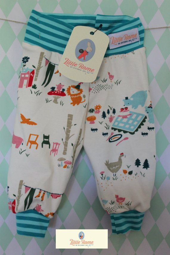 Little Rome's loose fitting baby pants, 100% Organic Jersey Cotton. SIZE 62, 3-6 months.