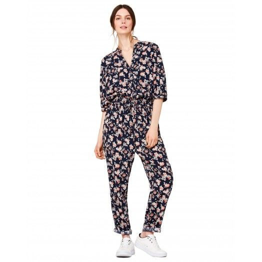Dark blue floral maxi #jumpsuit from #Benetton #SS17 #woman collection