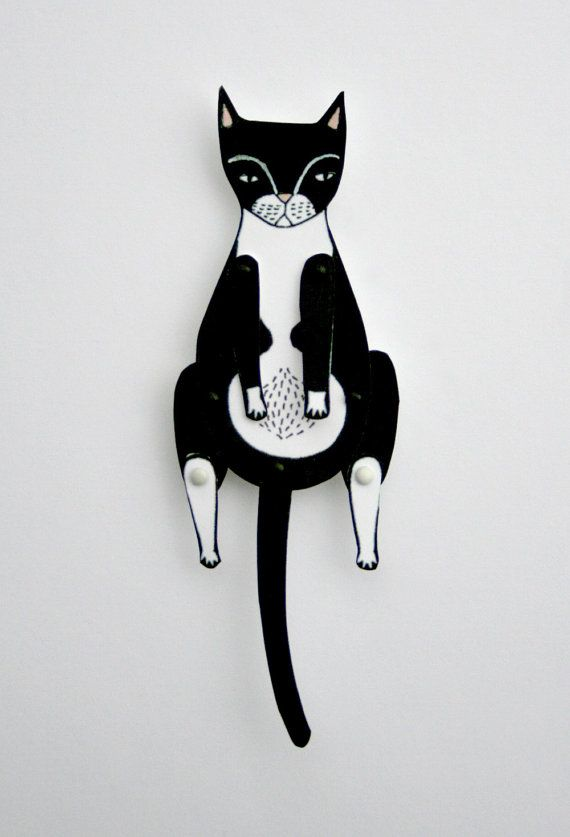 kitty cat moveable paper doll tuxedo by JordanGraceOwens on Etsy, $8.00
