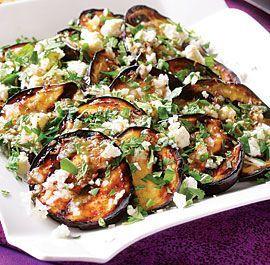 Grilled Eggplant with Garlic-Cumin Vinaigrette, Feta, and Herbs - I love eggplant.