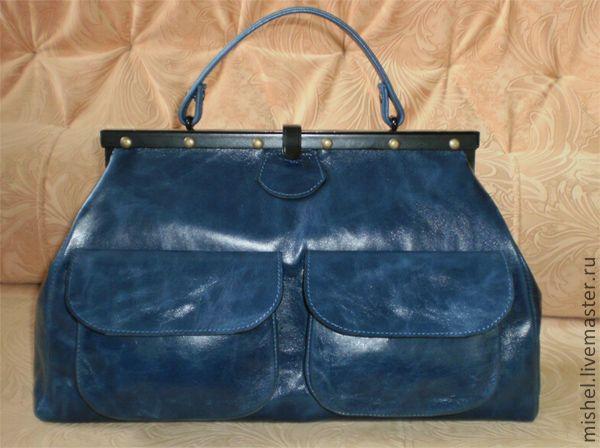 """Купить Саквояж """"Индиго"""" - сумка женская, саквояж, сумка кожаная, авторская сумка, кожа"""