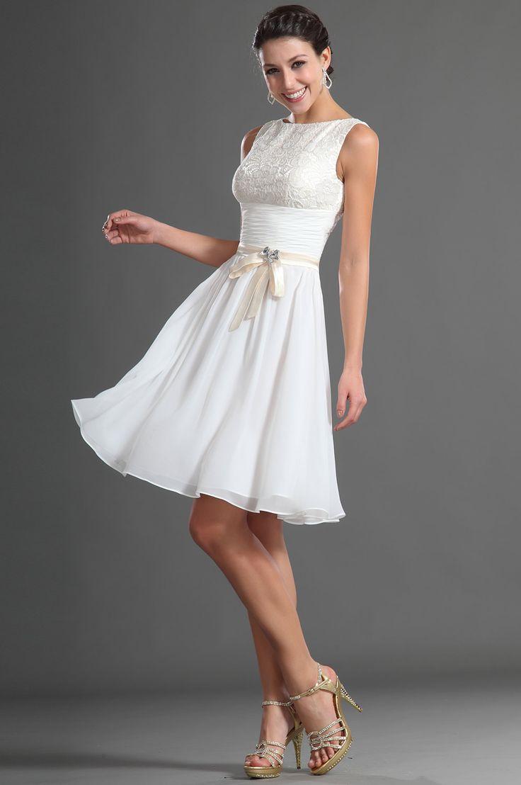 Robe de soirée,robe de cocktail courte buste dentelle et jupe mousseline blanche, 119€