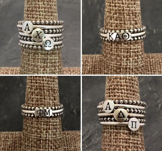 <3 super sweet GREEK LETTER ring spotlight! <3 I am obsessed with these 2 sorority ring designs from Sweet Elite Sponsor HEIDI J HALE! Stack them, add spacers and sparkle with sorority spirit when you wear such gorgeous handcrafted jewelry. The perfect gift for new sisters, big/little reveal and initiation. XOXOXO http://www.heidijhale.com