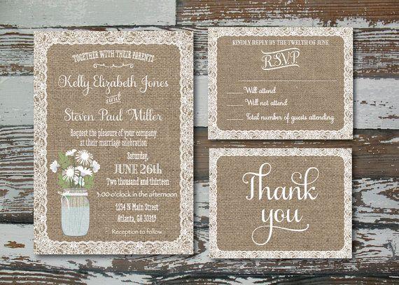 Printable  Burlap & Lace Wedding Invitation by RusticAvenueDesigns, $25.00