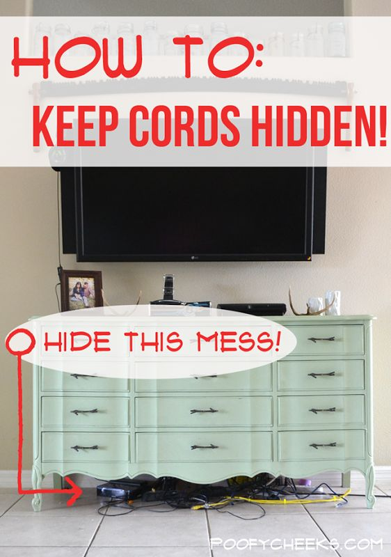 Keep Electronic Cords Hidden - find out the solution to keep cords hidden without using any power tools!