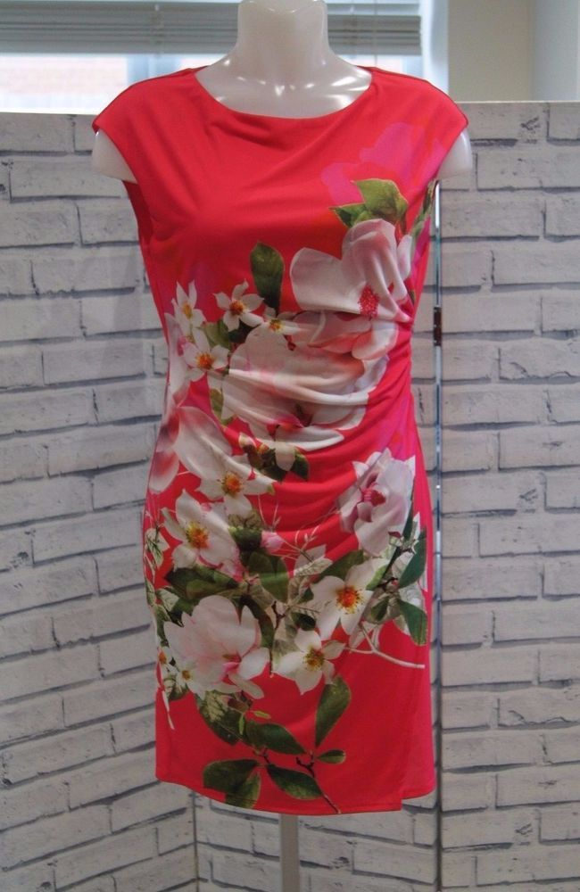 NEW WALLIS PINK MOCK WRAP BOLD FLORAL DRESS 8 to 20