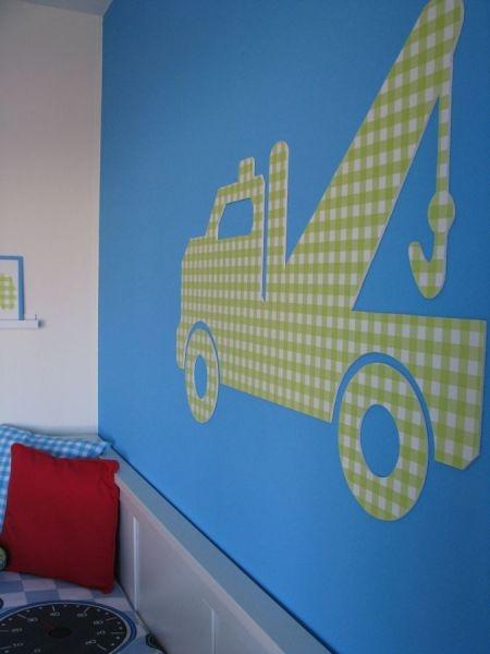 Leuk voor de #kinderkamer! takelwagen van #behang