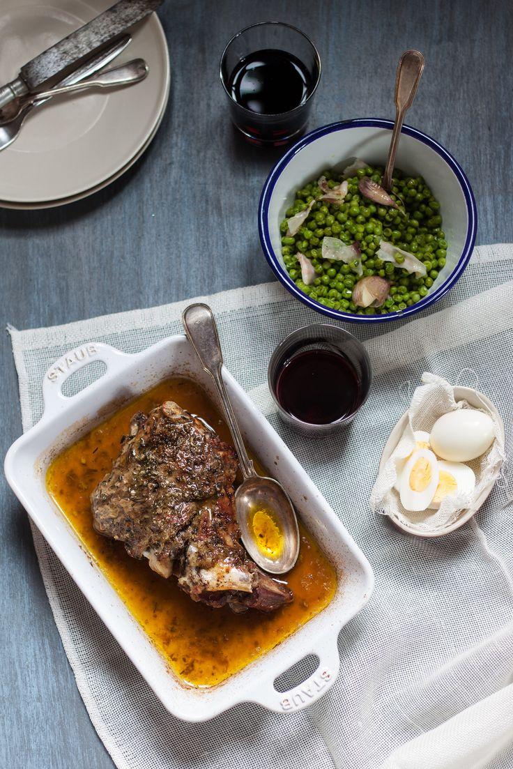 Greek Lamb Shoulder (serve w. trad. peas and prosciutto, or minted snap peas, radish for SB)