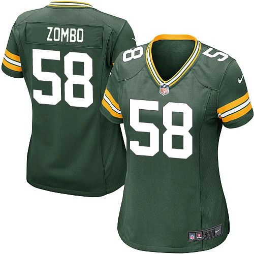 Women Nike Green Bay Packers Frank Zombo 58 Green NFL Jersey for Sale Sale