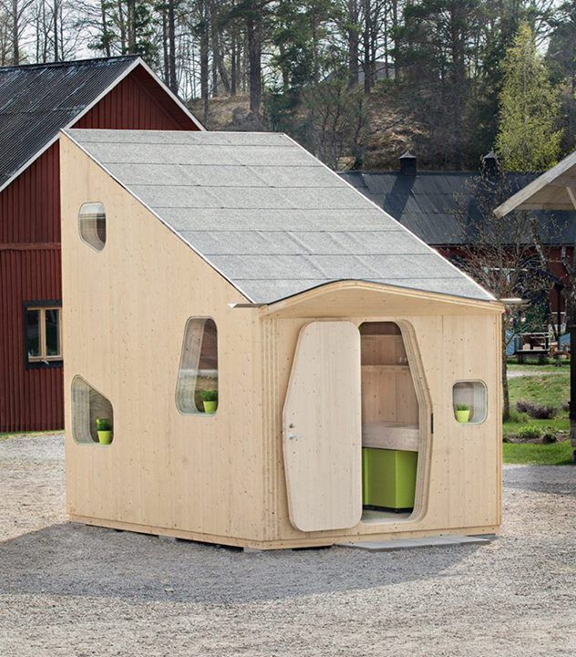 The Smart Student Unit, a 108 square feet tiny house designed to house students in Sweden and cut their expenses. With its large sloping roof, it would make a lot of sense to add several solar panels to power the house.