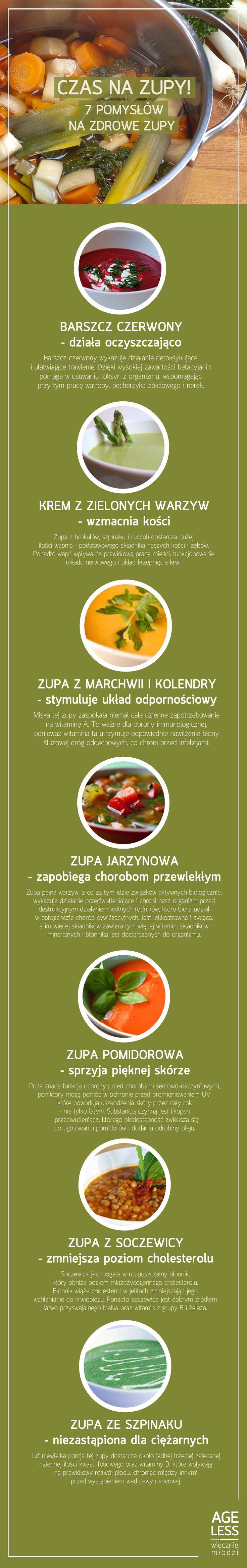 Czas na zupy!  Zupa, to jeden z najzdrowszych posiłków, jaki możemy sobie zafundowac.Pełna witamin i składników odżywczych, rozgrzewająca zupa, to idealny obiad w te jesienne dni. Odkryj 7 zup, na 7 dni tygodnia!  #ageless #wieczniemłodzi #zupa #zupy #warzywa #meatless