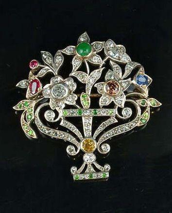A gem-set and diamond giardinetto brooch circa 1930