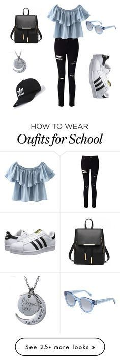 """School Outfit ❤️on Polyvore featuring Miss Selfridge, Chicnova Fashion, adidas Originals and Bobbi Brown Cosmetics"