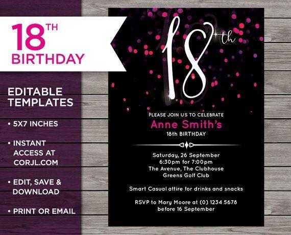 Pink 18th Birthday 18th Birthday Invitation Invitation Template 18th Birthday Invitati 18th Birthday Invites Birthday Invitation Card Template 18th Birthday