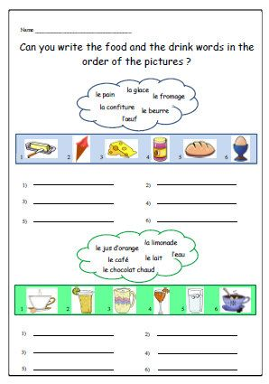 food and beverages french worksheet primary resources ks1 ks2 food and drink vocabulary in. Black Bedroom Furniture Sets. Home Design Ideas