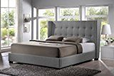 Baxton Studio BBT6386-Queen-Grey-DE800 (B-62) Favela Linen Modern Bed with Upholstered Headboard, Queen, Grey