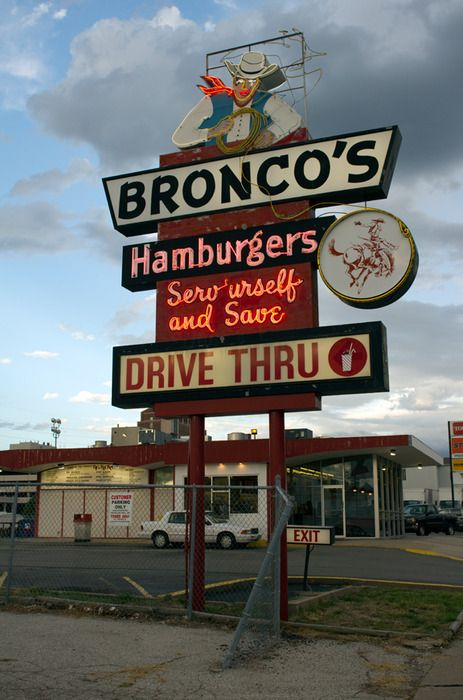 Bronco's (Oh, what yummy burgers! This was the first fast food I ate upon arriving in Omaha in Oct. of 1969)
