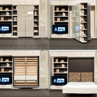 LGM - The LGM is a vertically opening queen bed that rotates 180 degrees to reveal a queen wall bed. Photo: Clei / Resource Furniture  CIRCE SOFA   Anima Domus  http://animadomus.com/collections/space-savers-murphy-beds/clei-convertible-systems-murphy-beds/circe-sofa/  www.resourcefurniture.com  http://www.clei.it