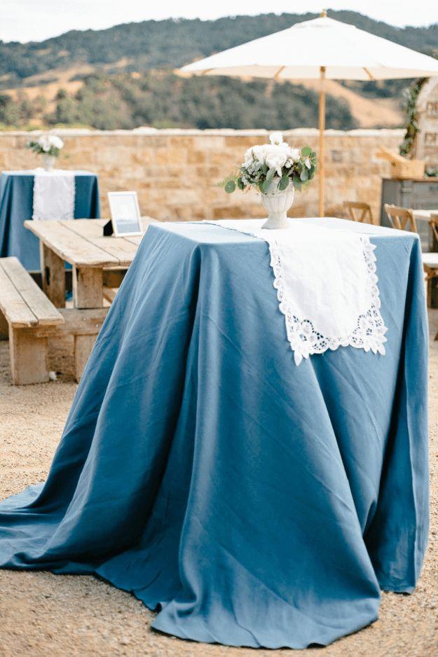 outdoor patio wedding with slate blue table cloths, white lace table cloths, pantone niagara, slate blue, dusty blue, smoky blue, denim blue, french blue