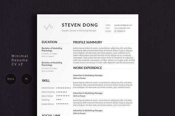 Minimal Resume CV 2   Simple Edition  @creativework247