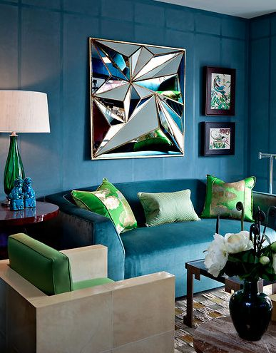 LOVE the color combination of blue and green in this living room; turquoise sofa