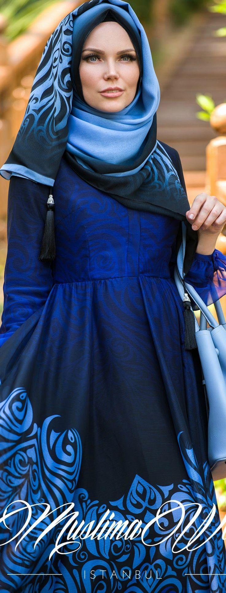 Muslima Wear Blue Night Chiffon Dress