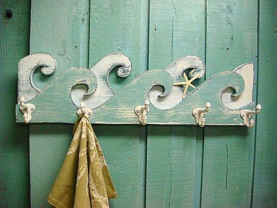 Waves Coat Rack Hook Rack Sign Wall Beach House by CastawaysHall, $64.00