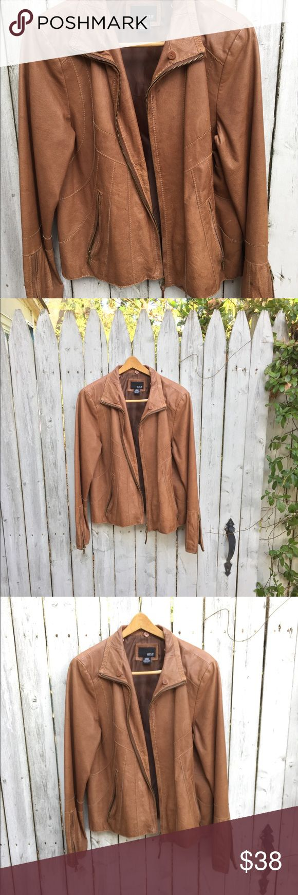 Ana British tan leather jacket women's large Anna British tan leather jacket women's coat size large great condition a few spots see photos  Real genuine leather leather completely blind. Size runs like a normal size Women's large. Soft Movable leather.from a smoke free home ana Jackets & Coats Utility Jackets