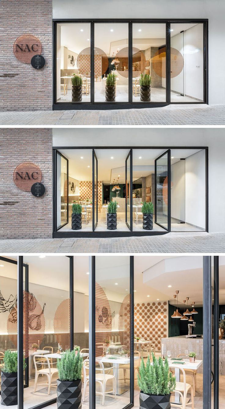 Large windows on the facade of this restaurant can easily be opened and closed depending on the weather.