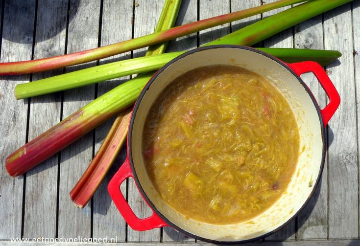 Makkelijke Rabarber Moes // Deze moes met maar 3 ingrediënten is erg eenvoudig te maken en staat binnen 20 minuten op tafel. Perfect als snel dessert over zelfgemaakt ijs of custard of over pannenkoekjes!