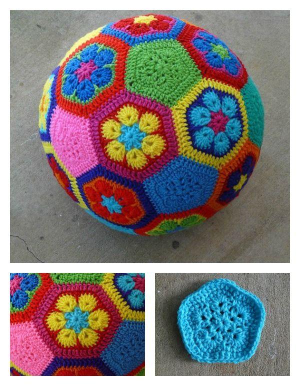 African Flower Soccer Ball Free Crochet Pattern