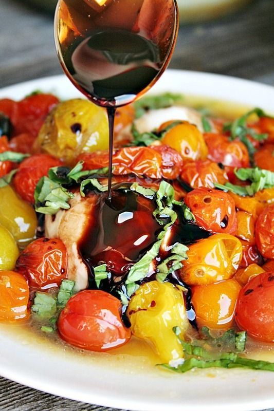Grilled Fresh Mozzarella with Roasted Tomatoes and Basil