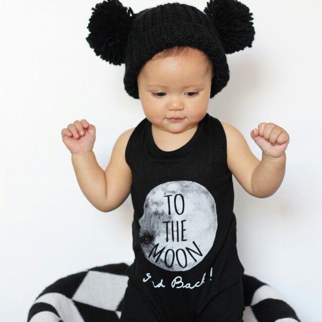 Beanie: Cotton On Kids  Romper: Little Urban Apparel #monochrome #babyfashion #blackandwhite